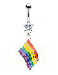 Rainbow Pride Wavy Flag Belly Ring - LGBT Gay and Lesbian Pride Navel / Belly Ring (Body Jewelry)