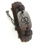 Male & Female Symbols on Metal Panel Brown Leather Bracelet - Supporter LGBT Jewelry