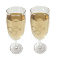 Gay Mens Champagne Glass Flutes w/ White Double Male Symbols (Set of 2) Great as a Gay Wedding Gift!