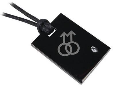 Double Male Symbol Black Plate Pendant - Gay Pride Necklaces