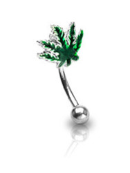 Marijuana Pot Leaf - Eyebrow Ring (Eye / Body Jewelry) Steel