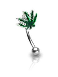 Marijuana Pot Leaf - Eyebrow Ring (Eye / Body Jewelry) Steel