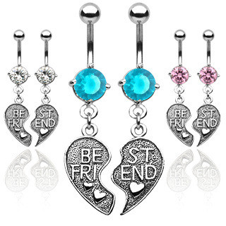 2pc Set - Best Friends - BFF Dangle Navel Ring (Belly / Body Jewelry) Pink, Blue or Clear CZ #best