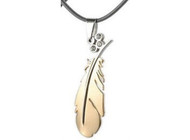 Gold Feather Pendant (PVC rope chain included)
