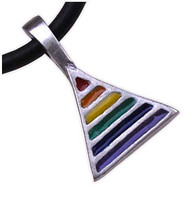Rainbow Pride Triangle - Gay & Lesbian LGBT Pride Pewter Necklace. Rainbow Items from Reinhardt Depot