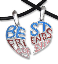 Light Cut Out - Best Friends Forever (BFF) - Pink Blue Red - 2 Pewter Pendants with 2 black PVC ropes/chains included!