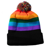 Ski Cap Short Pom Pom Rainbow Black Brim Winter Cap - LGBT Gay & Lesbian Pride Hat. Gay and Lesbian Pride Clothing & Apparel