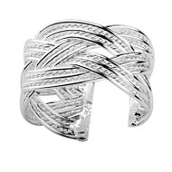 Celtic Rope Ring - Adjustable - One Size Fits All (.925 Sterling Silver Electroplated Ring)