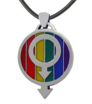 LGBT Over and Under Rainbow Gay Pride Pendant w/ Double Male Symbols - LGBT Gay Mens Pride Necklace