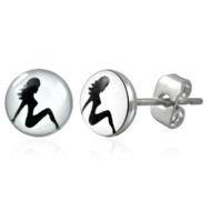 Hot Girl - Stud Earrings (White Circle & Black Girl) Female Lesbian Pride Jewelry