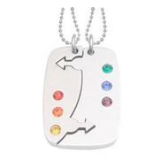 2pc Set - Break Apart Double Male Mars Puzzle Pendants - Gay Pride Jewelry Set Necklaces w/ 6 Rainbow CZ stones!
