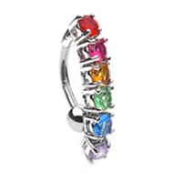 Rainbow Studded CZ - LGBT Gay & Lesbian Pride Navel / Belly Ring (Body Jewelry)