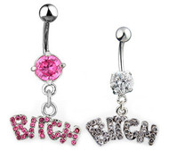 Bitch CZ Flare - Steel Navel Ring (Belly / Body Jewelry)