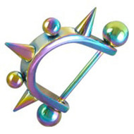 Anodized Balls & Spikes Rainbow Nipple Ring - LGBT Gay & Lesbian Pride Barbell (Body Jewelry)