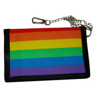"Full Rainbow Pride Velcro Wallet w/ 13"" Chain- LGBT Gay and Lesbian"