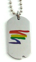 Steel Color Gay Pride Dog Tag w/ Rainbow Squiggle - LGBT Gay and Lesbian Pride Necklace
