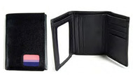 (Bi Pride Flag) Black Leather Trifold Wallet - LGBT Bisexual Pride Gifts & Money Holders