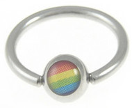 Rainbow Captive Bead Ring - Gay & Lesbian Pride (Eyebrow, Nipple / Belly & Body Jewelry)