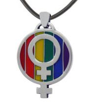 LGBT Over and Under Rainbow Lesbian Pride Pendant w/ Double Female Symbols - LGBT Lesbian Pride Necklace