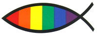 Christian Fish / Jesus Rainbow Pride Sticker 3x6 inch - LGBT Gay & Lesbian - Gay Pride Decal