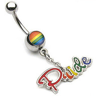 Rainbow Pride Script Belly Ring w/ Clear CZ - Gay & Lesbian Pride Navel / Belly Ring (Body Jewelry)