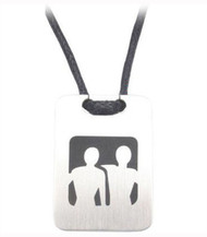 Men Embracing - Dog Tag Gay Pride Pendant - Steel Color Male Gay Pride Necklace