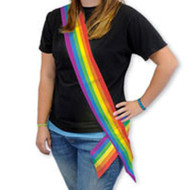 6' Foot Satin LGBT Rainbow Sash - Gay Pride Parade / Lesbian Pride Party Supplies