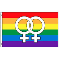 Rainbow Flag / Lesbian Pride Flag (Double Female Venus Symbols) - 3 x 5 Polyester Gay Flag
