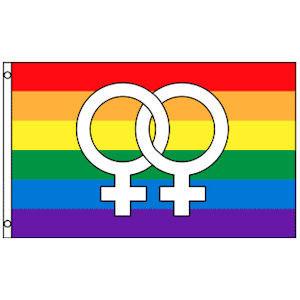 Rainbow Flag   Lesbian Pride Flag (Double Female Venus Symbols) - 3 ... e180431477