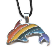 Gay Rainbow Dolphin Pendant - LGBT Gay and Lesbian Pride Necklace
