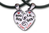 Big Sis & LiL Sis Necklaces - 2 Pewter Pendants with 2 black PVC ropes/chains included - Black and red text.