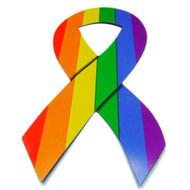 Rainbow Pride LGBT Gay & Lesbian - Ribbon Car Magnet w/ Bold Rainbow lines