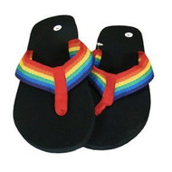Rainbow Center Flip Flops - Sandals w/ Black Soles - LGBT Gay and Lesbian Pride Clothing and Apparel (Footwear)