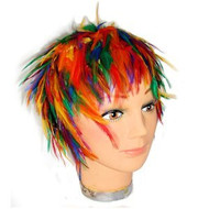 Hackle Feather Rainbow Wig - LGBT Gay and Lesbian Pride Apparel / Parade Wear