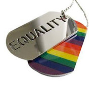 2pc. Equality Rainbow Dog Tag - LGBT Gay and Lesbian Pride Necklace