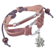 Marijuana Pot Leaf Leather & Copper Knotted Dangle Bracelet (420 / Hemp Pride) Brown