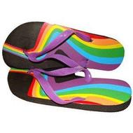 Rainbow Swirl Bottom Heel Flip Flops - Sandals w/ Black Soles - LGBT Gay and Lesbian Pride Clothing and Apparel (Footwear)