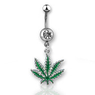 Marijuana Pot Leaf - Surgical Steel Navel Ring w/ CZ Stone (Belly / Body Jewelry)