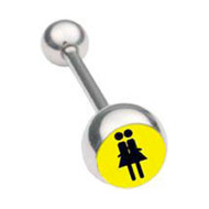 Yellow Double Girl Lesbian Pride Tongue Ring Barbell (Lesbian Pride Body Jewelry)