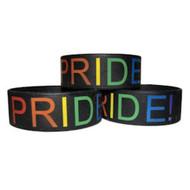 (1) Black Silicone Pride Bracelet Wristlet - Gay & Lesbian LGBT Pride Wristband w/ Rainbow Text