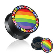 Pair of Rainbow Flag Gem Rimmed Plug Earrings - Gay and Lesbian Pride
