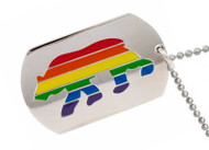 Bear Pride Rainbow Dog Tag - Men's Gay Pride Necklace