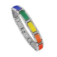 Steel Enamel Link Rainbow Bracelet - Gay and Lesbian LGBT Pride Wristlet