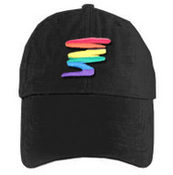 Black Baseball Cap with Gay Rainbow Squiggle - LGBT Gay and Lesbian Pride Hat. Gay and Lesbian Pride Clothing & Apparel