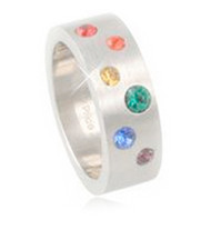 A Half Scattered CZ Rainbow Ring - LGBT Jewelry - Gay and Lesbian Pride Ring