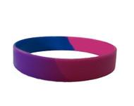 Bisexual Pride Silicone Bracelet Wristlet - LGBT Pride Wristband w/ Bi Pride Flag Colors