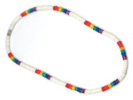 White & Rainbow Gay Pride Beads - Puka Shell Necklace - Gay & Lesbian LGBT Pride