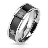 Double Lesbian Female Symbols on Steel Black IP Ring - Lesbian Pride Promise or Wedding Ring