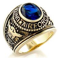 Air Force - USAF Military Ring (Gold with Blue Stone)
