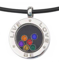 Live Love Be - Rainbow Circular Glass Pendant - Gay and Lesbian LGBT Pride Necklace